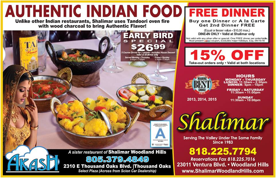 15% OFF on all take-out orders at Shalimar Indian Restaurant